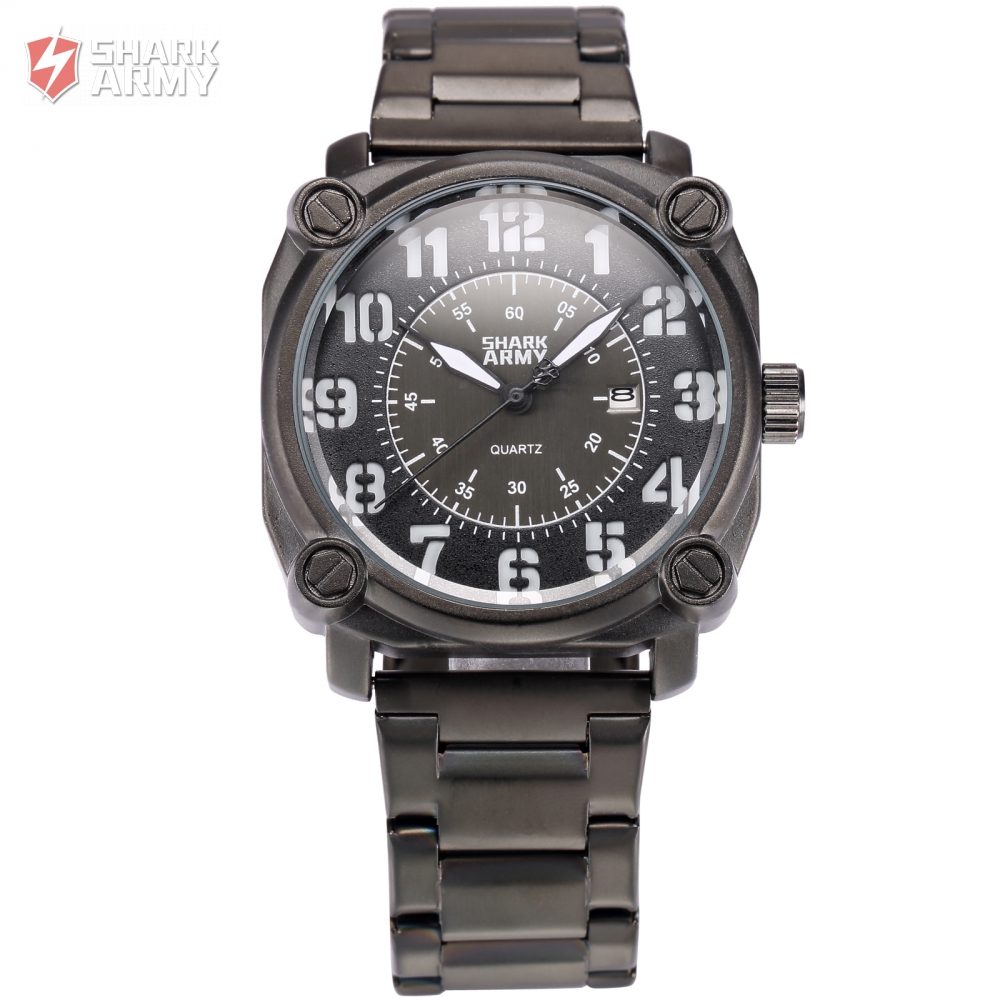 font b Shark b font Army Luxury Brand Auto Date Display Stainless Steel Strap Analog