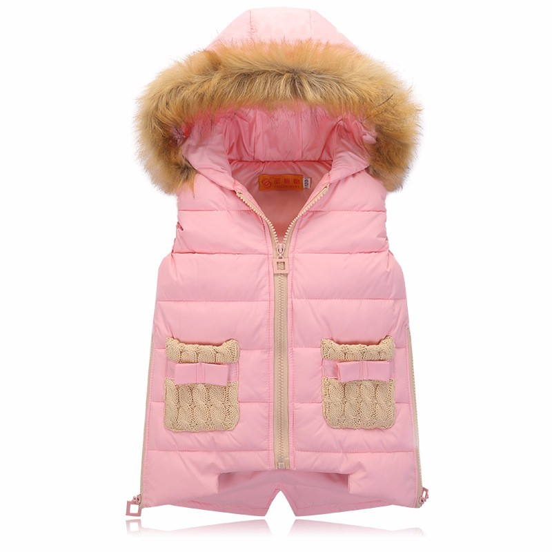 90% Duck Down Vest Girls Pink Kids Waistcoat Hooded Down Solid Warm Fur Collar Girls Vest Children Clothing manteau fille hiver 2016 rex rabbit fur vest girls lovely hooded rabbits short coat vest children s solid pink and white short o neck vest for baby