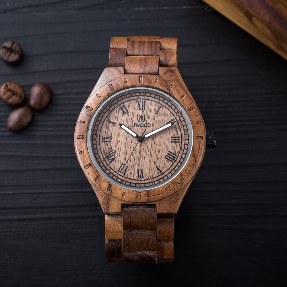 18 Hot Sell Men Dress Watch QUartz UWOOD Mens Wooden Watch Wood Wrist Watches men Natural Calendar Display Bangle Gift Relogio 22