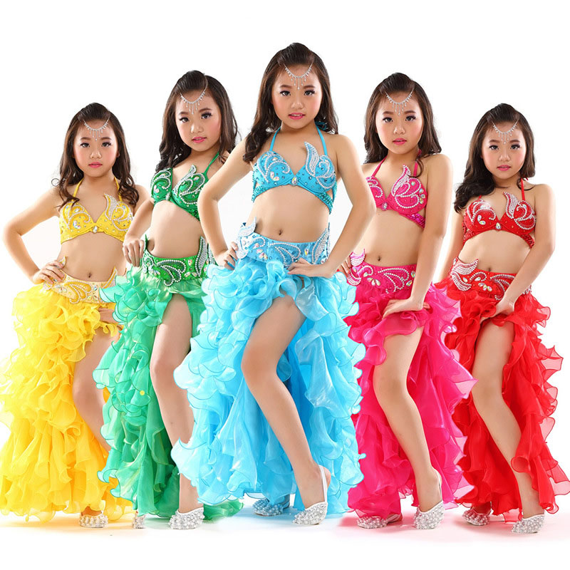 Kids bukdansdräkter barn Belly Dancing Girls Bollywood Indiska Performance Cloth Whole 3 Pieces / Set 6 Färger Nya Handgjorda