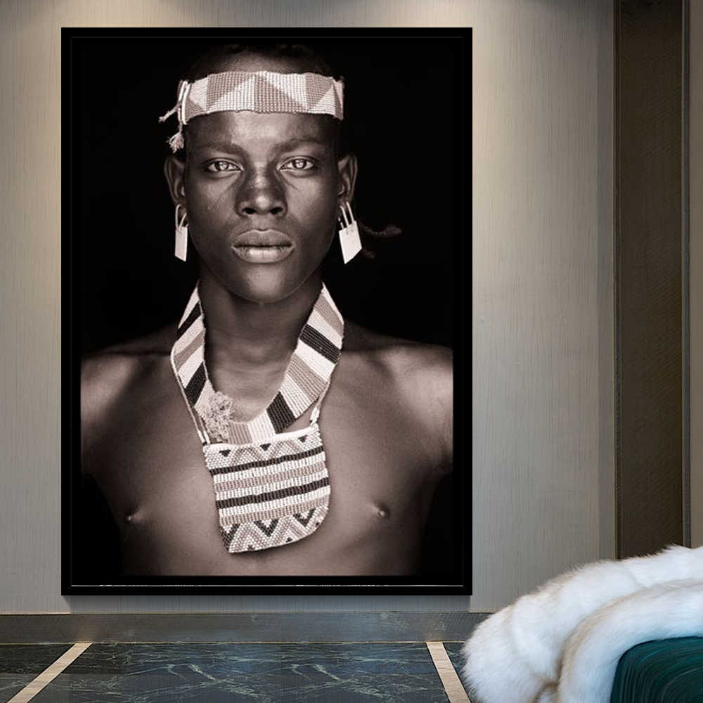 African Man Wall Art Portrait Home Decoration Black And White Posters And Prints Living Room Canvas Painting Wall Pictures