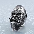 Steel soldier unique stainless steel men ring movie style warcraft Durotan ring punk personality jewelry as gift