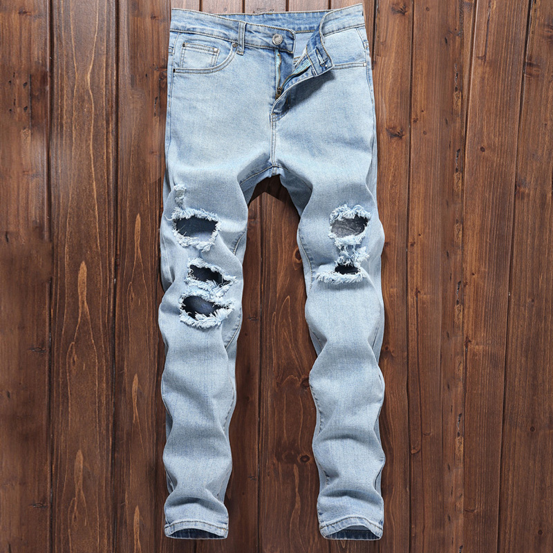 2018 High Street Fashion Mens Jeans Light Blue Color Elastic Destroyed Ripped Jeans Broken Punk Pants Slim Fit Hip Hop Jeans Men