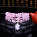 Hot Selling Tibetan Buddhist Natural Pink Crystal Stone Mala Necklace Bracelet Prayer Beads Jewelry