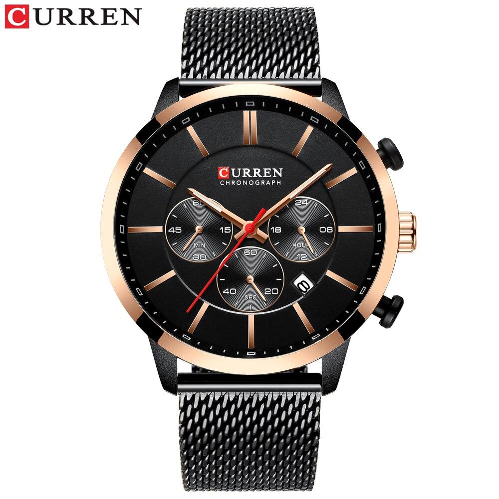 Image 4 - CURREN Luxury Brand Fashion Quartz Clock Mens Watch Causal Sport Watches Men Chronograph and Date Wristwatch with Steel MeshQuartz Watches   -