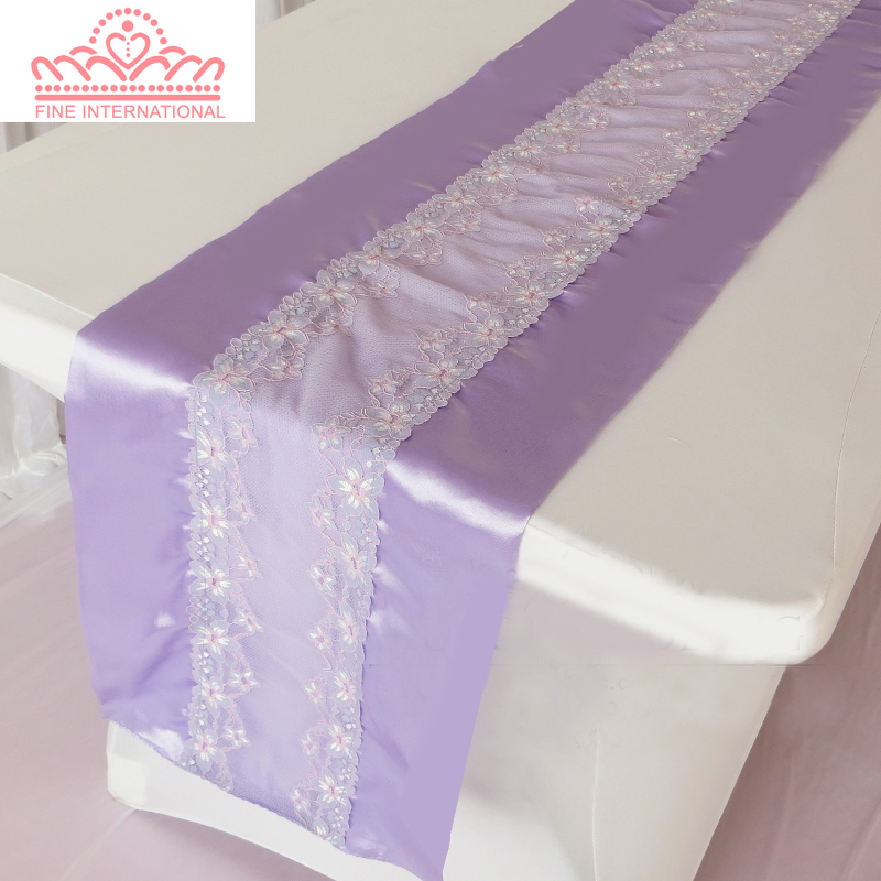 Superb Lavender Lace Table Runner,double Side Satin Runner For  Wedding,party,banquet