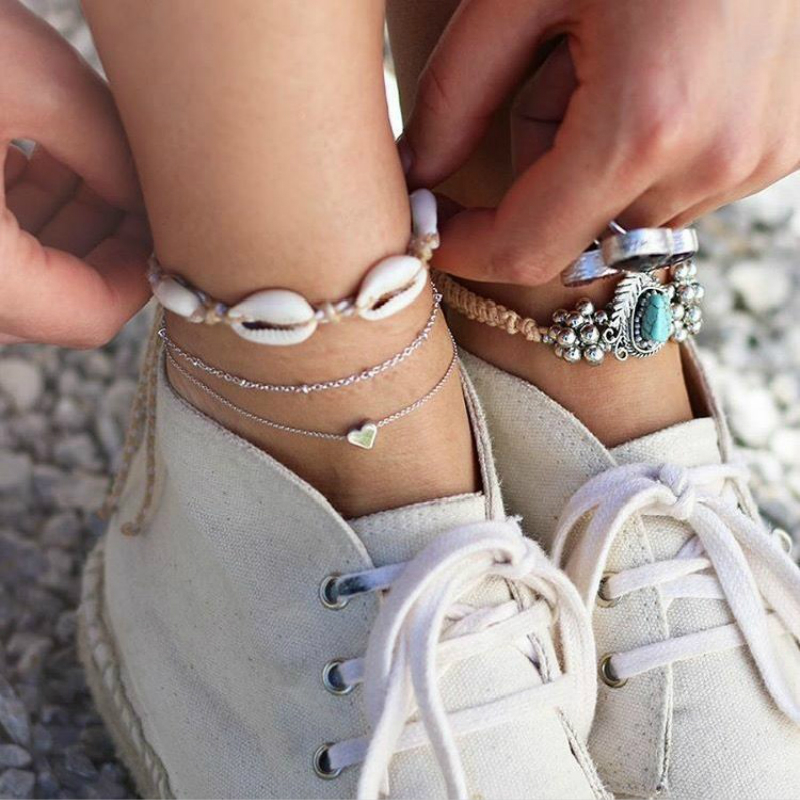 New Hot Fashion Anklet Jewelry Anklet Women's Deep Sea Shell Hand-woven Multi-layer Love Anklet Personality Popular Wholesale