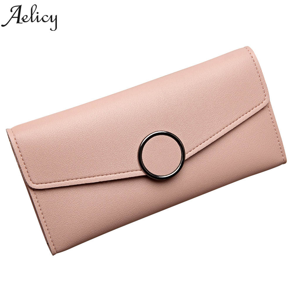 Aelicy Long Korean version of the multi-card bit buckle small wallet PU Leather Hasp Wallet Female Famous Brand Card Holders