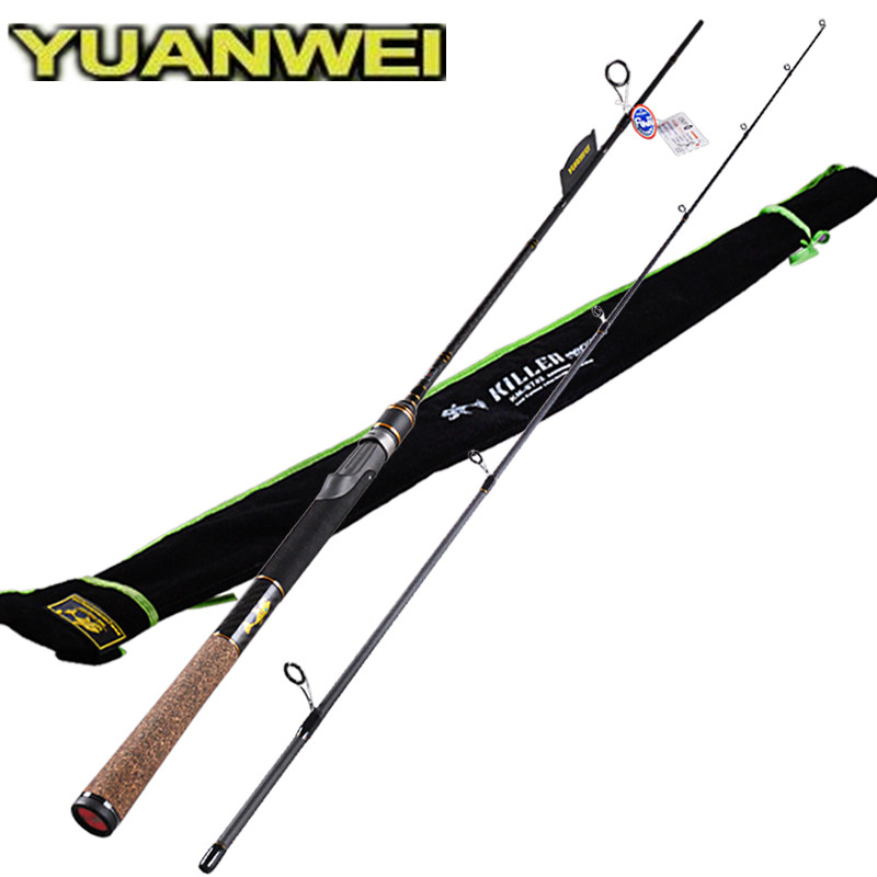 YUANWEI Spinning Fishing Rod 2 Sec 1.98m 2.1m M 6-24g 6-14lb Carbon Fishing Lure Rods Vara De Pesca Olta Fishing Tackle Stick
