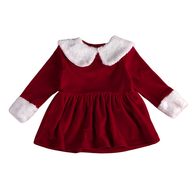 535e056a2ac9 2017 Christmas Newborn Toddler Baby Girls Velvet Long Sleeve Dress Little Girl  Xmas Clothes 0-