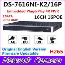 Hikvision Original English Version DS-7616NI-K2/16P Embedded Plug&Play 4K NVR H.265 2SATA up to 8MP 16POE 16CH DHL Free Shipping