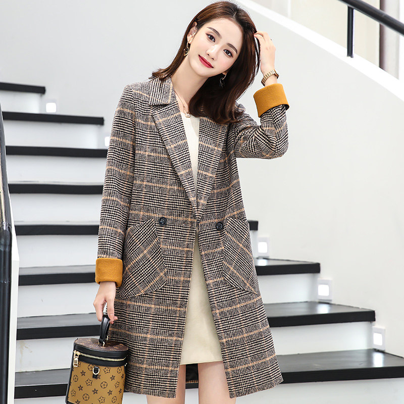 LYFZOUS Elegant Women Woolen Coats Spring Autumn Plaid   Trench   Coat Femme Fashion Slim Long Overcoat Plus Size Outerwear