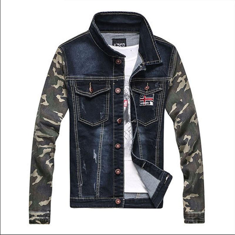 Denim Camouflage Patchwork Men Kpop Jacket Badge Turn Down Collar