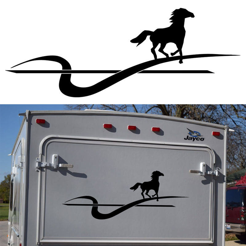 car styling Running Galloping Horse Graphic Hard Work Topic Car Sticker Motorhome Caravan Travel Trailer SUV Decals Vinyl Jdm