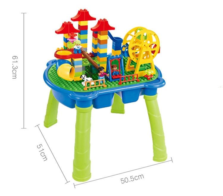 [Top] Multifunctionele Onderwijs Bouwstenen Tafel Bureau Speelgoed Pretpark Reuzenrad Blokken Diy Assemblage Model kids Gift - 6