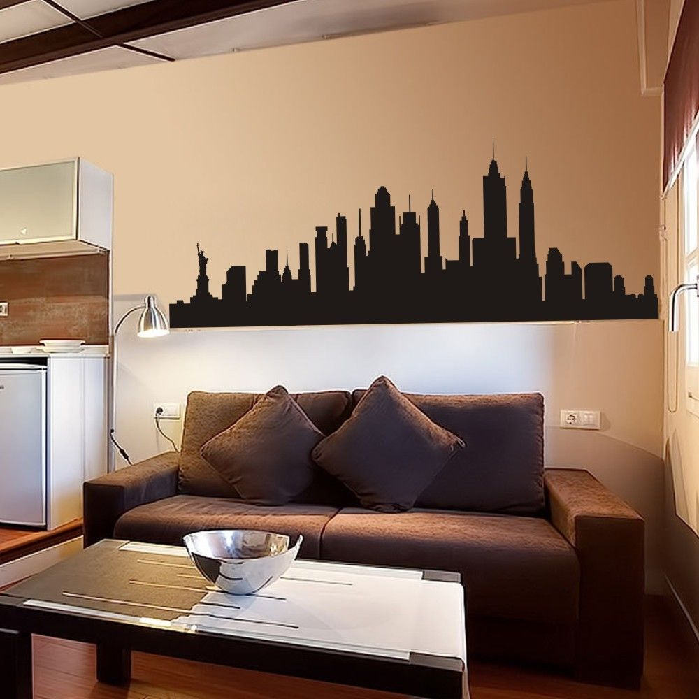 New york city skyline silhouette wall sticker nyc vinyl for Home decor new york