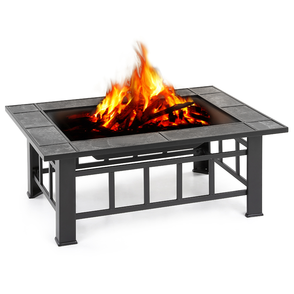 Metal garden backyard fire pit patio rectangular firepit for Fireplace and bbq