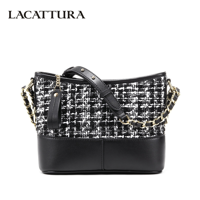 LACATTURA Luxury Women Messenger Bags Designer Leater Handbag Fashion Chain Shoulder Bucket Bag Clutch Lady Crossbody for Women lacattura luxury handbag women designer leather chain shoulder bag fashion small messenger bags clutch crossbody for lady summer