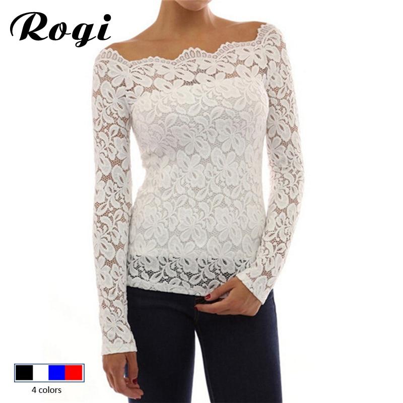 Rogi Women Blouses Spring Fashion White Lace Blouse Shirt Off Shoulder Long Sleeve Chiffon Shirt Blusas Femininas Tops Plus Size Fine Quality Women's Clothing