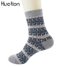2018 4 Colors Hot Selling Men/women Warm Socks Winter Thick Long Vintage Striped Sock Wool Mixture Harajuku Cashmere Dress Socks
