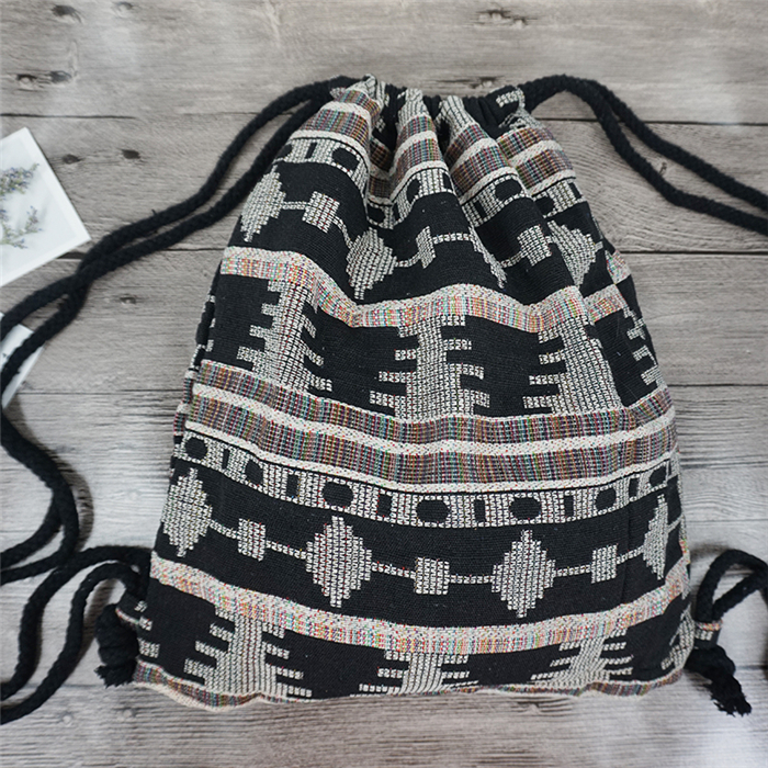 HTB1KrbQdpuWBuNjSszbq6AS7FXar LilyHood Women Fabric Backpack Female Gypsy Bohemian Boho Chic Aztec Ibiza Tribal Ethnic Ibiza Brown Drawstring Rucksack Bags