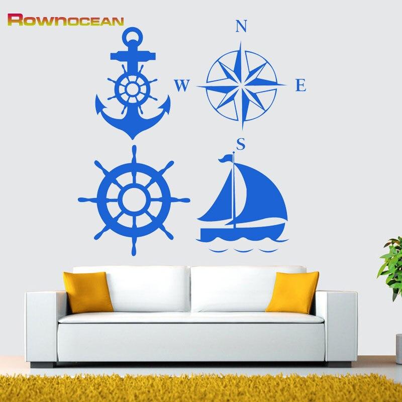 Nový 2017 Anchor Compass Rudder Plachetnice Námořní nástěnné samolepky Home Decor Obývací pokoj Vinyl DIY Ornamentation Muurstickers C-03