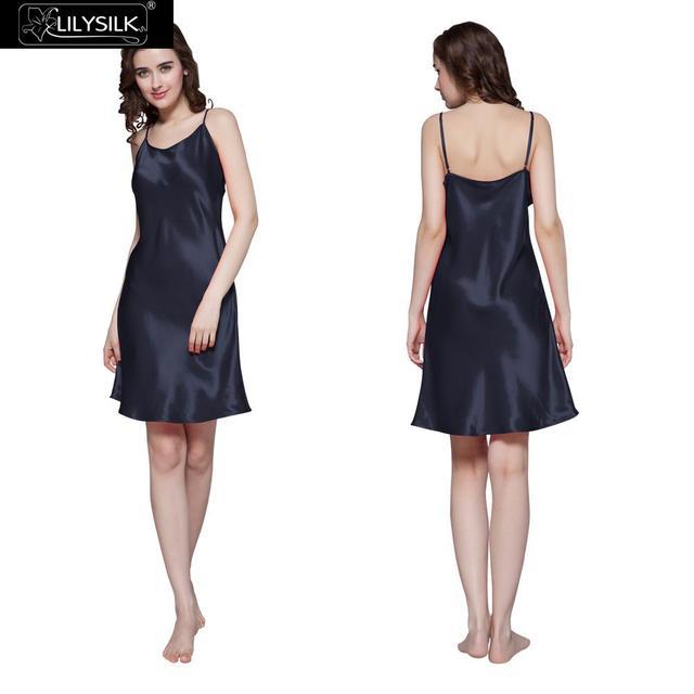 Camisolas Das Mulheres 22 Momme Lilysilk Seda Pura Sexy Lingerie Camison Cuidados Com A Pele Sensível Mini Noite Vestido Azul Marinho Roupa de Dormir Em Casa