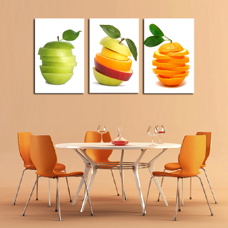 Home Kitchen Decor Picture Fresh Fruit Salad Wall: Unframed 3 Panels Canvas Oil Wall Art Fruit Painting For