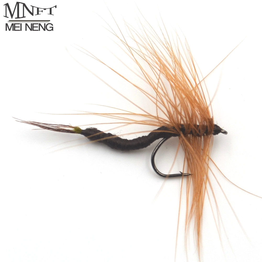 MNFT 10PCS 12# Brown Color May Fly Trout Fishing Flies Mayfly Lure Artificial bait