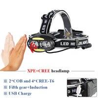 cob led headlight micro usb infrared sensor headlamp xml t6 lanterna head torch 18650 head lamp camping waterproof head light