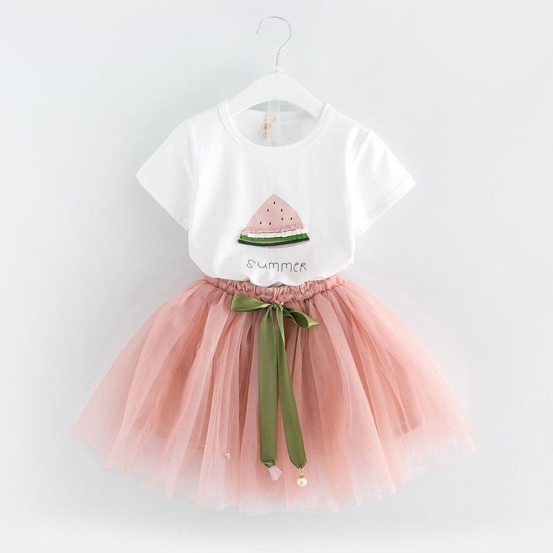 EMS DHL Free little girls kids 2pc Suit T Shirt Tulle Skirt Bling Watermelon Beaded Suit Summer Outfit Children Clothing