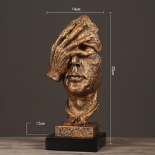Handicraft arts and crafts Toy Resin 13.5'' Silence Mask Figurines Abstract No Say No See No Hear Statuettes Mask Sculpture toy