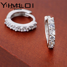 Hot Fashion Jewelry 925 Silver White Small Round Square Topaz Crystal Cute Zircon earring For Women Hoop Huggie Earrings E145