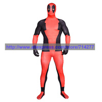 Custom Made negro y rojo Deadpool Fullbody Lycra Spandex Zentai traje Animal Cosplay de Halloween navidad traje regalo