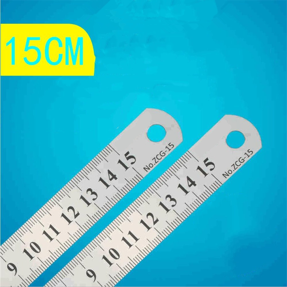 Stationery Brand 15cm Ruler Steel Ruler Lackadaisical Straight Stainless Steel Ruler Double Side Scale  Y