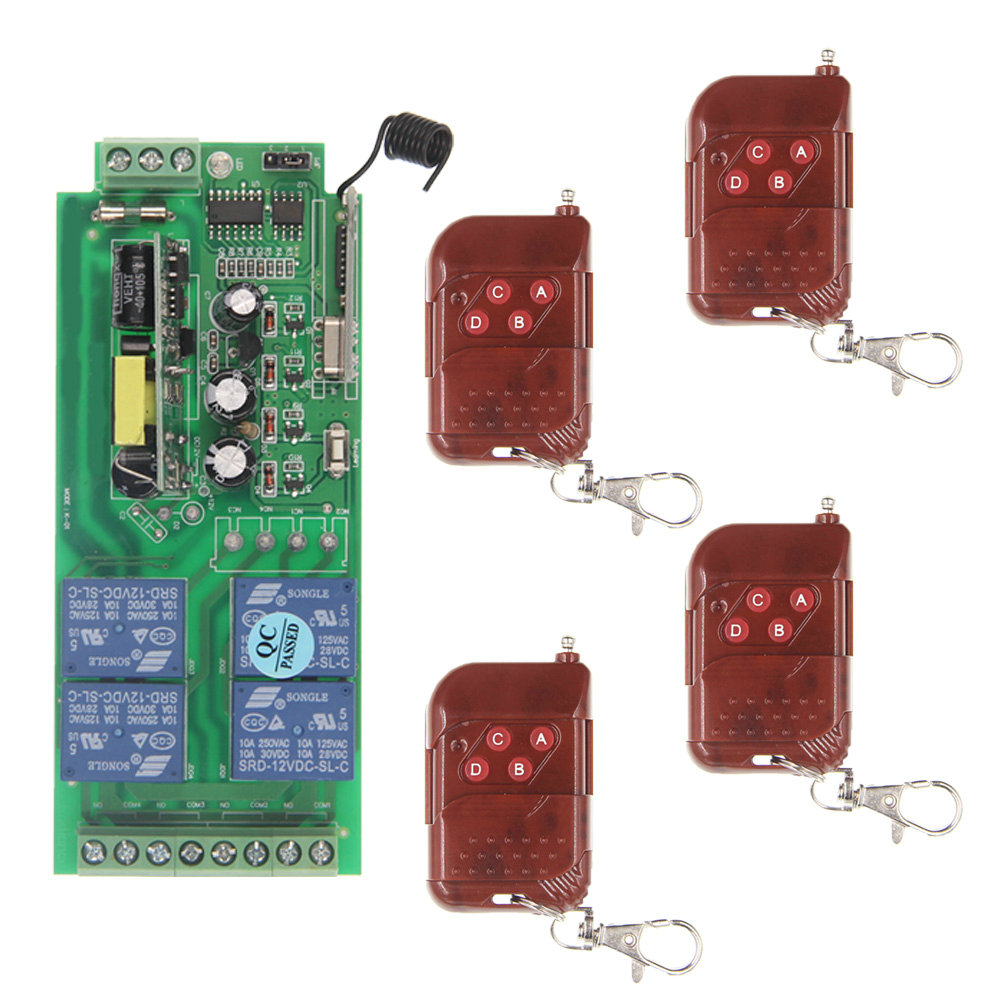 AC 85-265V 110V 220V 10A 4CH 4 CH Remote Control Switch RF Wireless Receiver 315 / 433.92 MHz Toggle / Latched / Momentary new ac 220v 30a relay 1 ch rf wireless remote control switch system toggle momentary latched 315 433mhz