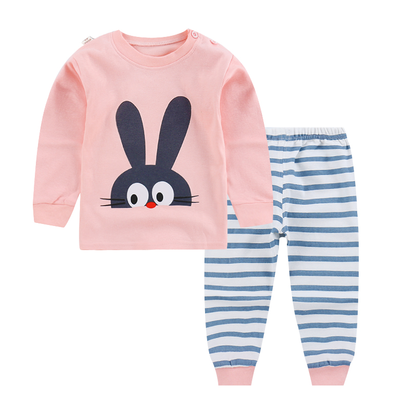 Baby girls clothing sets cartoon Big ears rabbit Spring summer childrens wear cotton casual tracksuits kids clothes sports suit