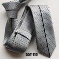 Alta qualidade gravata gravatas finas dos homens Populares casuais cinza com listras pretas pontos kravatas
