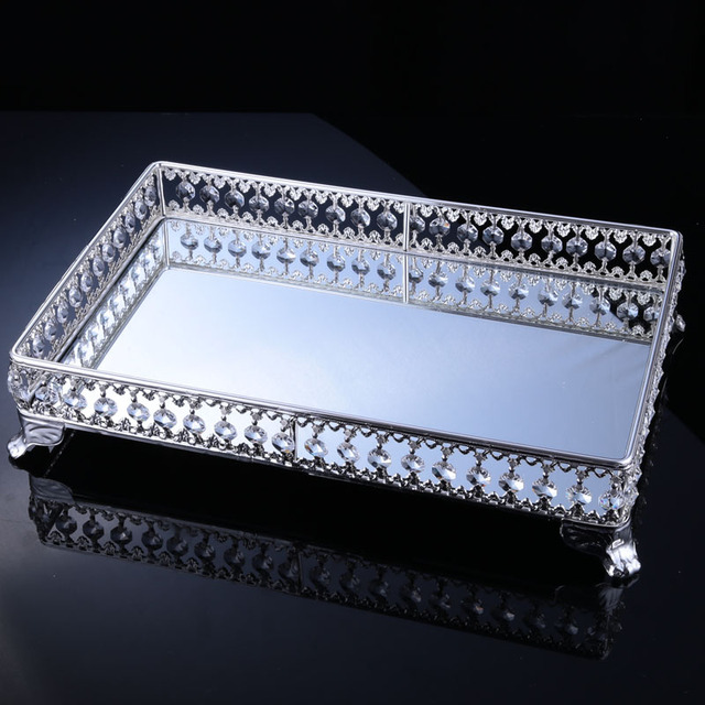 10pcs/lot Brilliant European Metal Crystal Silver Snack Tray Fruit Plate for Wedding Party Home Event Hotel Decoration Ornaments