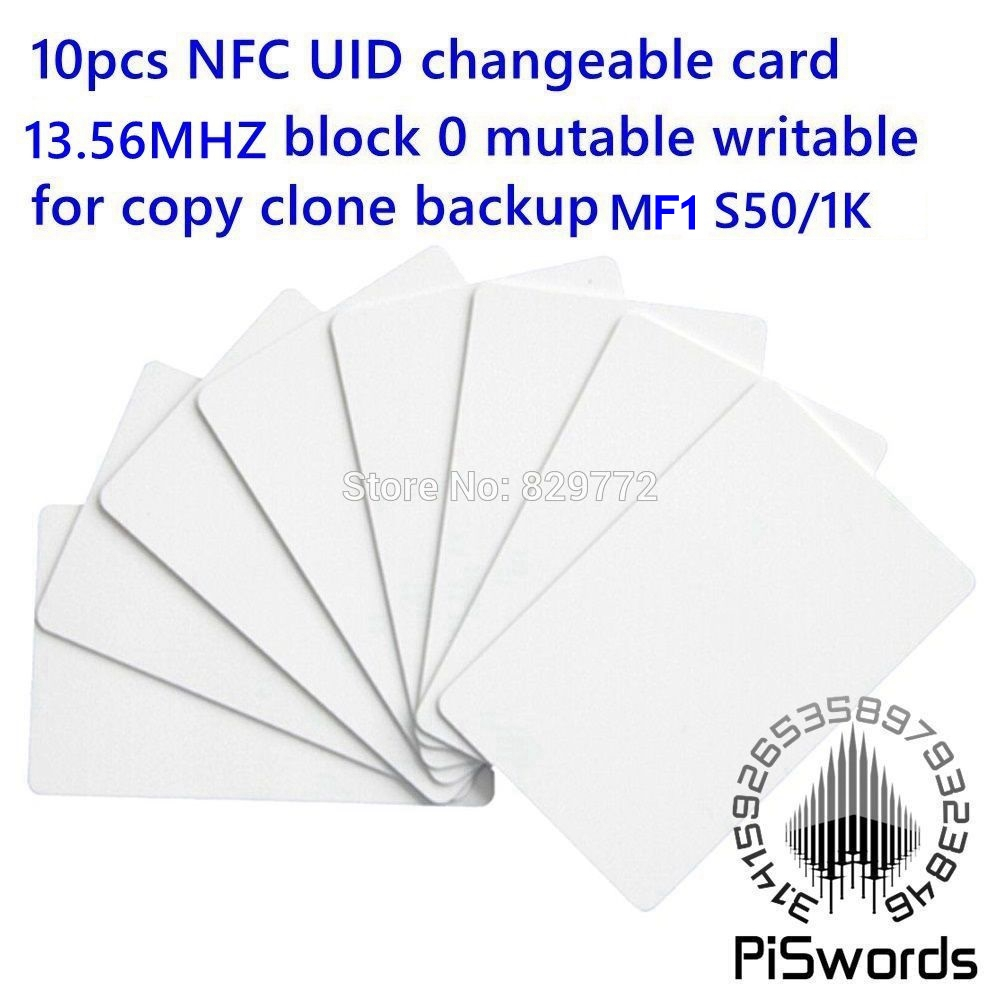 Piswords 10pcs RFID card UID changeable nfc card with block 0 mutable writable for mf1 1k s50 13.56Mhz nfc card clone crack hack rfid nfc s50 mf1 fm08 chip writable smart ic pvc blank card 1k memory with iso14443 a b 13 56mhz
