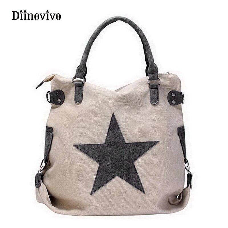 DIINOVIVO Vintage Big Star Canvas Totes Handbag Unisex Casual Multifunctional Travel Shoulder Bag Crossbody Beach Bags WHDV0093