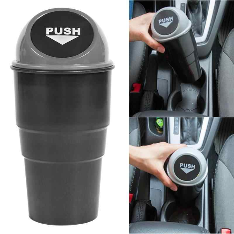 Taşınabilir plastik araba Mini çöp kutusu otomatik yaratıcı çöp tenekesi araç toz tutucu Bin kutu yaylı kapak evrensel kolay temizlik