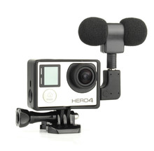 Black Profesional Mini Stereo Microphone + Standard Frame Case for Gopro Hero 4 3+ 3 USB to 3.5mm Mic Adapter Cable Cord