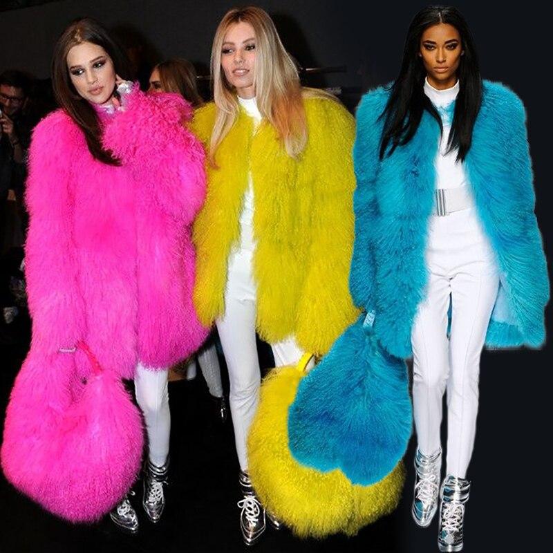 2018 миланское шоу, женская шуба из овечьей шерсти, желтовато коричневая овца, шуба, длинная куртка из овечьей кожи, 70 см, Монгольская овечья шу