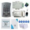 Venta caliente controlador de acceso V2000-C + y control de bloqueo eléctrico + fuente de alimentación + botón de salida + de bell de puerta + 10 unids tarjetas llave + control remoto