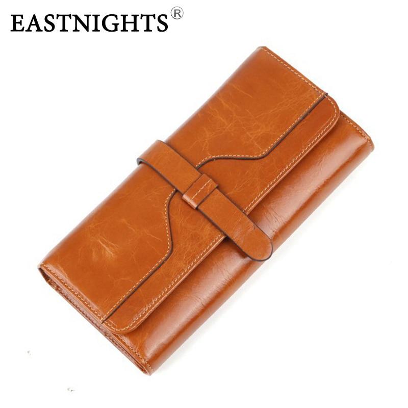 EASTNIGHTS women wallets genuine leather wallet style leather purse female vintage bag clutch famous brand designer WL033