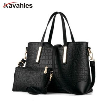 Women handbag leather hand bag crocodile shoulder messenger bags Women tote Bag + purse - Set of 2