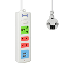Power Strip Socket Portable Plug Adapter With 2USB EU 2M Extension Cord Travel Smart Charger Wall