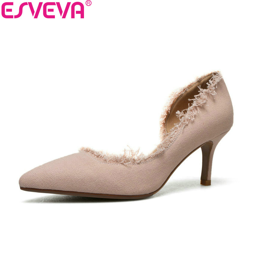 ESVEVA 2018 Women Pumps Sweet Style Slip on Shoes Thin High Heels Elegant Pointed Toe Appointment Pumps Women Shoes Size 34-40 sweet women high quality bowtie pointed toe flock flat shoes women casual summer ladies slip on casual zapatos mujer bt123