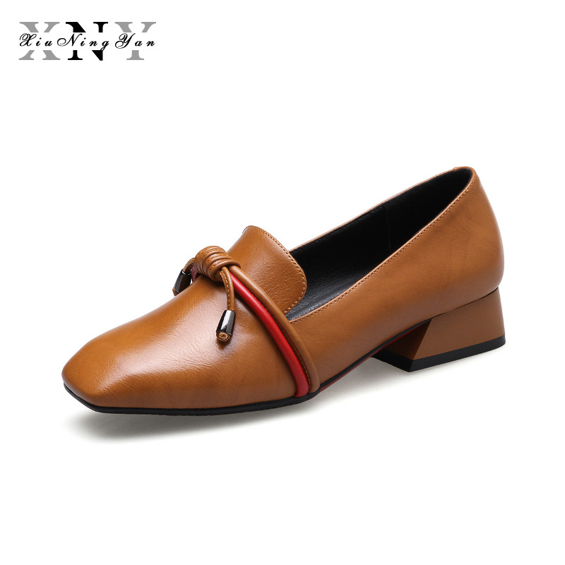 XIUNINGYAN Women Shoes Flats Fashion Fringe Square Toe Loafers Lady Casual Shoes Leather Spring Autumn Brogues Plus Size 33-40 newest lady spring autumn shoes slip on lady soft leather flat platform fashion casual shoes women round toe loafers size 34 43